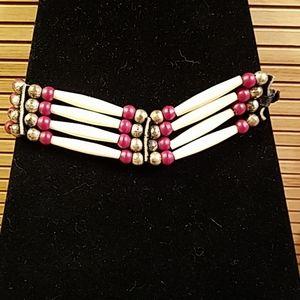 Vintage Native American choker w beads GUC